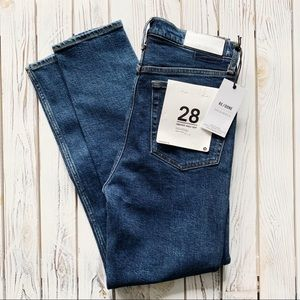 RE/DONE High Rise Ankle Crop Stretch Jeans Size 28